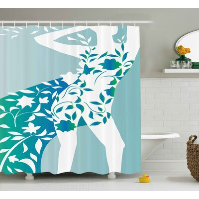 Reba Fashion Girl Body With Flower Petal Leaves Trendy Modern Model Image Shower Curtain Size: 69 W x 70 H