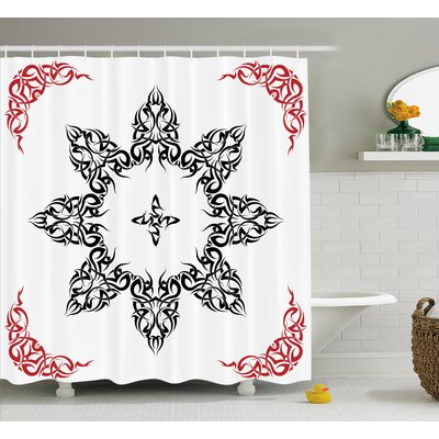 Meghan Tribal Ethnic Tattoo Circular Vector Art Leaves Like Frame Modern Print Shower Curtain Size: 69 W x 70 H
