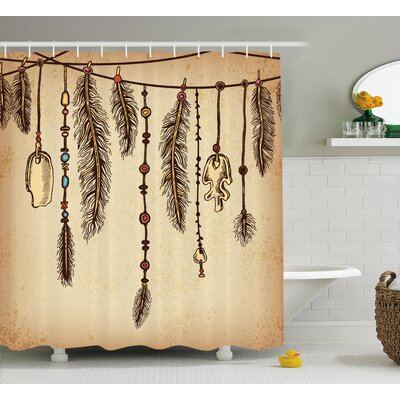 Celine Tribal Bohemian Indian Hair Accessories Bird Feathers Beads on String Sketch Digital Print Shower Curtain Size: 69 W x 70 H