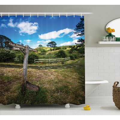 Hobbits Rustic Wooden Sign Shower Curtain Size: 69 W x 70 H
