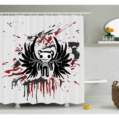 Francis Halloween Teddy Bones With Skull Face and Wings Dead Humor Funny Comic Terror Design Shower Curtain Size: 69 W x 70 H