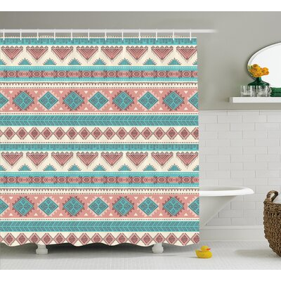 Renee Tribal African Vintage Design Native Ethnic Style Artsy Geometric Triangles Shower Curtain Size: 69 W x 70 H