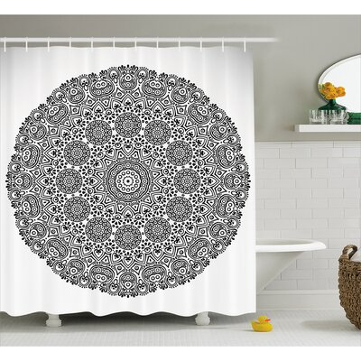 Linda Mandala Rounded Indian Spiritual Motif With Symmetrical Flower Petal Features Print Shower Curtain Size: 69 W x 70 H