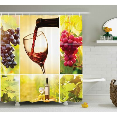 Bernadine Habitat With Wineyard Bottle and Leaves Farm Harvest Time Shower Curtain Size: 69 W x 70 H