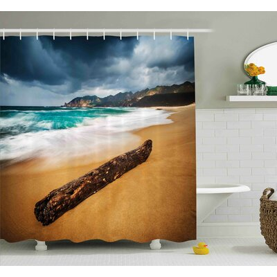 Audra Driftwood Seascape Theme Old Piece of Tree Shower Curtain Size: 69 W x 70 H