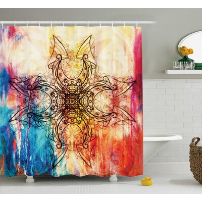 Pacific Ornate Original Mandala Sketch Over Dirty Digital Collage Mystic Feature Pattern Shower Curtain Size: 69 W x 75 H