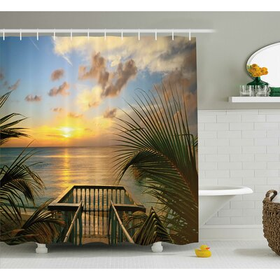 Markita Mediterranean Horizon Sea From Wooden Terrace Balcony Fences Holiday Life Photo Shower Curtain Size: 69 W x 70 H