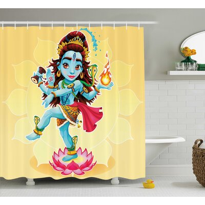 Hivernage Yoga Cute Indian God Dance on Lotus Flower and Holding Fire Asian Sun Zen Theme Cartoon Shower Curtain Size: 69 W x 70 H