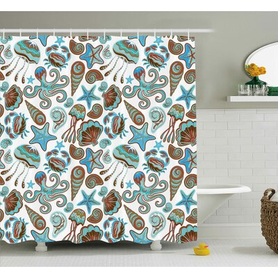 Katharine Illustration of Sea Life Crabs Octopus Shells Starfish and Medusa Print Shower Curtain Size: 69 W x 70 H