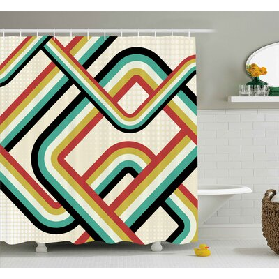 Casey Trippy Retro Striped Artistic Subway Lines Inspired Digital Graphic Design Shower Curtain Size: 69 W x 70 H