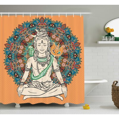 Hesperange Yoga Asian God With Funky Lace Style Mandala Form Background Vintage Boho Decor Shower Curtain Size: 69 W x 70 H