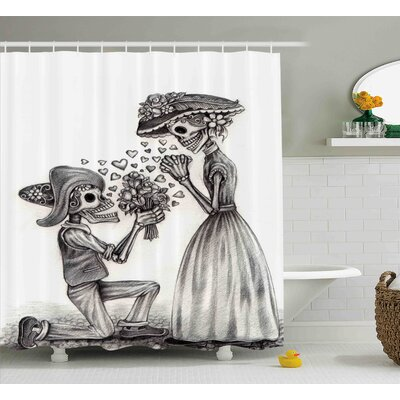 Anastasia Day of The Dead Mariage Proposal Till Life Do Us Apart Dead Day Festive Print Shower Curtain Size: 69