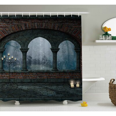 Socorro Fantasy Fiction Forest With Giant Mushrooms and Elves Magical Fairy Enchanted Image Shower Curtain Size: 69 W x 70 H