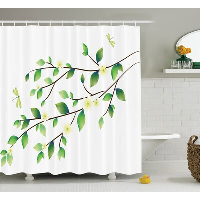 Ruby Country Leaves With Little Dragonflies and Jasmine Botanical Ecology Illustration Shower Curtain Size: 69 W x 75 H
