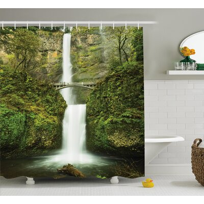 Hobbits Falls of Rivendell Multnomah Waterfall Oregon With Hobbit Elf Path Bridge Scene Image Shower Curtain Size: 69 W x 70 H