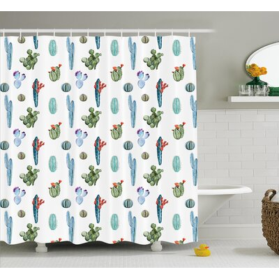 Zendaya Watercolor Cactus Plant Image Desert Hot Mexican Souh Nature Floral Print Shower Curtain Size: 69 W x 70 H