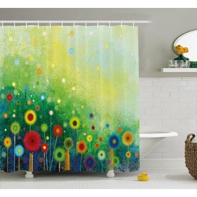 Bonita Retro Round Seasonal Blooms Floret Petal Cloudy Botany Scenery Shower Curtain Size: 69 W x 75 H