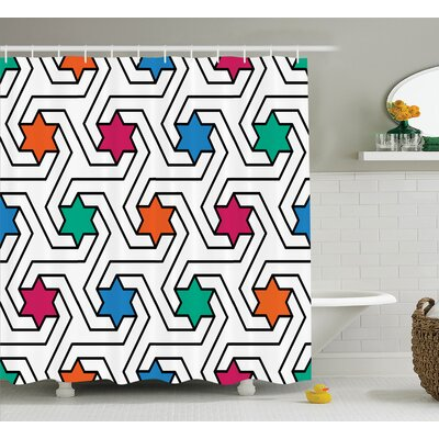 Melissa Colorful Star on Abstract Pop Art Geometric Pattern Modern Teen Room Rock Punk Print Shower Curtain Size: 69 W x 70 H