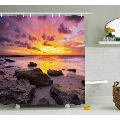 Jana Tropical Sunset At The Beach Horizon on Island Magical Idyllic Weather Landscape Shower Curtain Size: 69 W x 70 H