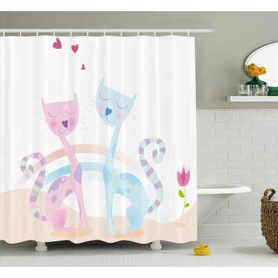 Valentine Cute Cats Shower Curtain Size: 69 W x 84 H
