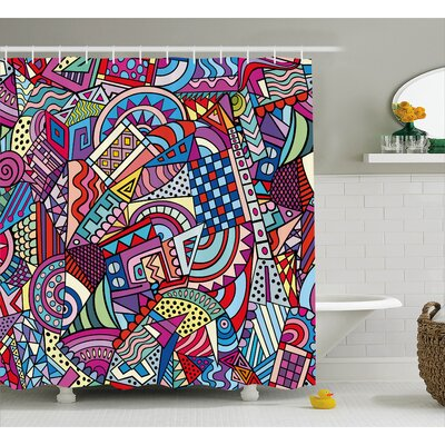 Wendy Colorful Funky Art Theme Stained Glass Style Triangle and Squares Modern Art Print Shower Curtain Size: 69 W x 75 H
