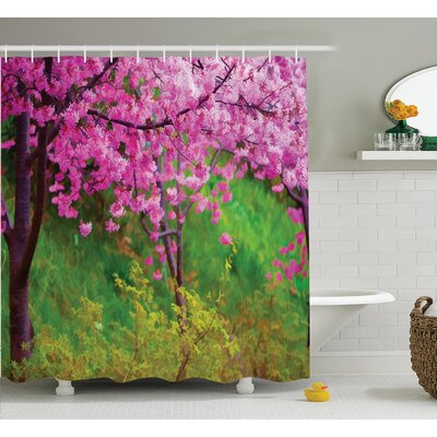 Oua-Tom Japanese Sakura Flowers Trees Shower Curtain Size: 69 W x 70 H