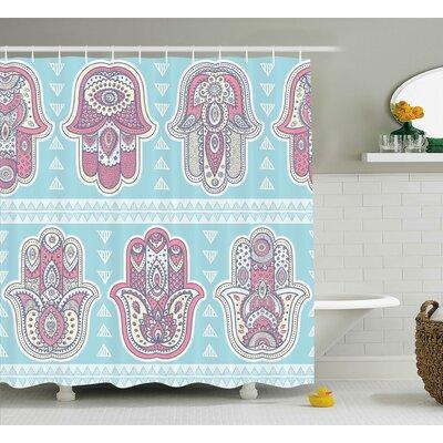 Mona Boho Pattern With Open Hamsa Hands Ornate Asian Mandala Theme Artsy Boho Print Shower Curtain Size: 69 W x 70 H