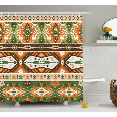 Jeannette Tribal Vector Design With Tattoo Aztec Mayan Style Stripes Shapes Print Shower Curtain Size: 69 W x 70 H