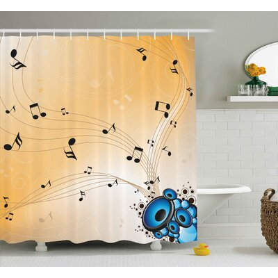 Sadie Music Abstract Artwork Melodies Flying Notes Speakers and Sound Illustration Shower Curtain Size: 69 W x 70 H