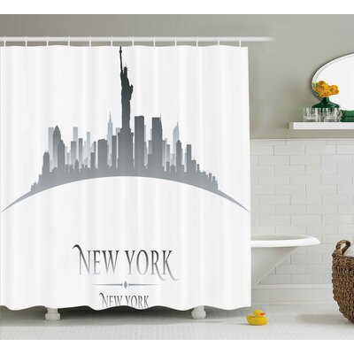 Chriz American New York City Silhouette With Statue of Liberty Famous Town Usa Monument Image Shower Curtain Size: 69 W x 70 H
