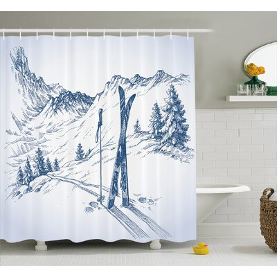 Becker Sketchy Graphic of a Downhill With Ski Elements Shower Curtain Size: 69 W x 70 H