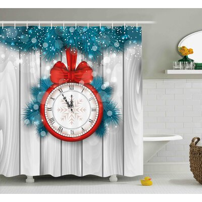 Lily New Year Midnight a Clock and Fir Branch Illustration Decorations For Home Shower Curtain Size: 69