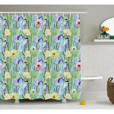 Volmer Types of Cactus Plant Pattern With Flowers and Buds Fruits Artwork Image Shower Curtain Size: 69 W x 70 H