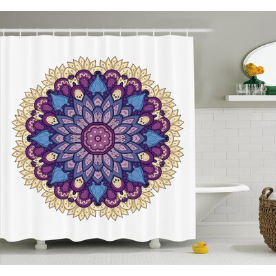 Jennifer Mandala Flower Shaped Universe Chart With Color Contour Occult Esoteric Folk Image Shower Curtain Size: 69 W x 70 H