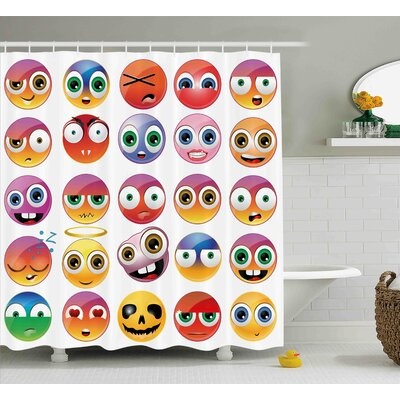 Dee Emoji Rainbow Colored Cartoon Like Smiley Face Expressions Sad Happy Angry Fierce Art Print Shower Curtain Size: 69 W x 70 H