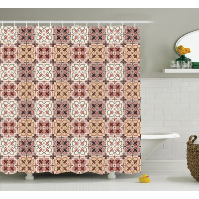 Ava Quatrefoil Vintage Style Patterns With Tangled Clover Shapes East Tessellation Image Shower Curtain Size: 69