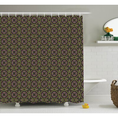 Lori Floral Ethnic Patterns Heraldic Tribal Symbolic Historical Bound Shape Image Shower Curtain Size: 69 W x 75 H