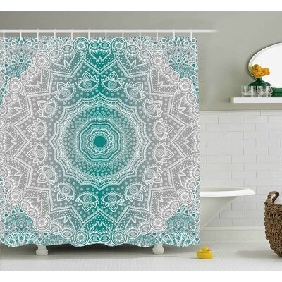 Maureen Grey and Teal Mandala Ombre Sacred Geometry Occult Pattern With Flower Lines Display Artwork Shower Curtain Size: 69