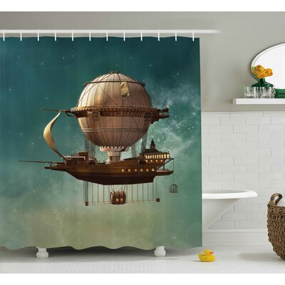 Maureen Fantasy Surreal Sky Scenery With Steampunk Airship Fairy Sci Fi Stardust Space Image Shower Curtain Size: 69 W x 70 H