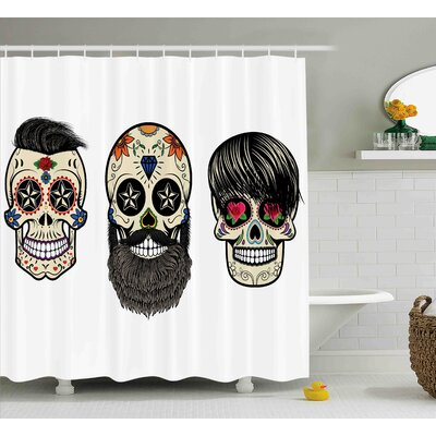 Verla Day of The Dead Skull Human Heads With Happy Faces Floral and Geometric Shaped Eyes Shower Curtain Size: 69 W x 70 H