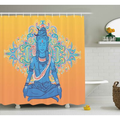 Noumea Yoga Happy Asian God Floral Mandala Paisley Boho Backdrop Spiritual Ethnic Graphic Shower Curtain Size: 69 W x 70 H