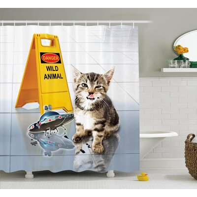 Animal Cute Flirty Adorable Kitten on The Floor With Ufo and Warning Sign Art Print Image Shower Curtain Size: 69 W x 70 H