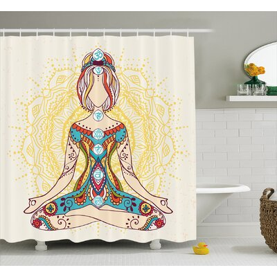 Rowan Chakra Ornate Female on Lotus Pose With Spots Points on The Body Sacred Pulses Print Art Shower Curtain Size: 69 W x 70 H