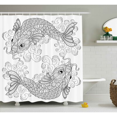 Guedira Asian Traditional Koi Fish Pattern With Ethnic Embellished Ornaments Culture Image Shower Curtain Size: 69 W x 70 H