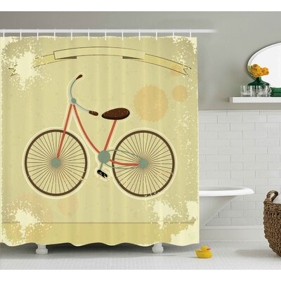 Sue Vintage Postcard of a Retro Bicycle on Grunge Background Illustration Print Shower Curtain Size: 69 W x 70 H