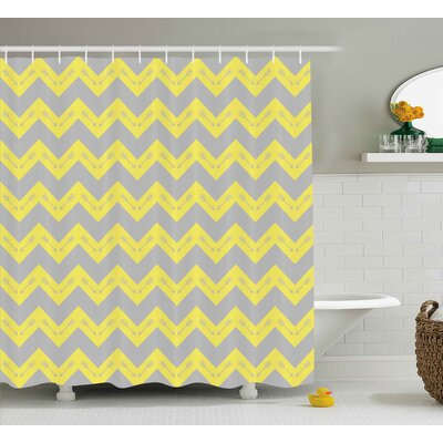 Sueann Chevron Zig Zag Pattern With Tribal Native American Arrows Primitive Abstract Design Shower Curtain Size: 69 W x 70 H