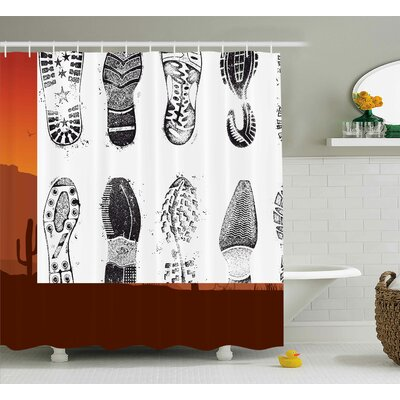Lauren Grunge Set of Various Shoe Tracks Human Foot Damaged Murky Artisan Walking Image Shower Curtain Size: 69 W x 70 H