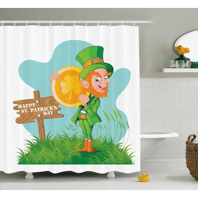 St. PatrickS Day Festive Leprechaun With Costume Holding Large Shamrock Gold Coin on Hill Shower Curtain Size: 69 W x 70 H