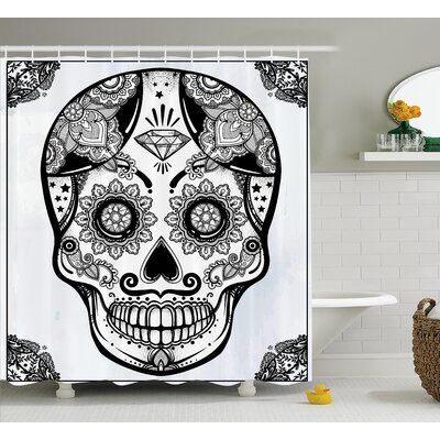 Keeble Day of The Dead Holiday Sugar Skull Print With Floral Mandala Spanish Folk Art Shower Curtain Size: 69 W x 84 H