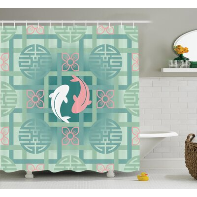 Olympic Japanese Dolphin Couple on Geometrical Featured Round and Squared Figure Culture Work Shower Curtain Size: 69 W x 70 H